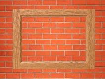 Leeg houten kader op de rode bakstenen muur Stock Foto