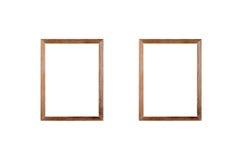Leeg houten kaderbeeld op witte achtergrond royalty-vrije stock foto's