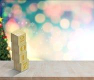 Leeg houten lijst Gelukkig Nieuwjaar 2017 op cristmas bokeh muur Stock Foto's
