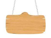 Leeg houten uithangbord met ketting Royalty-vrije Stock Foto's