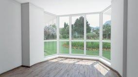 Leeg huis voor huur, mooie tuin met automatische sprenkelinstallatie buiten het venster Achtergrondplaat, Chromasleutel stock footage