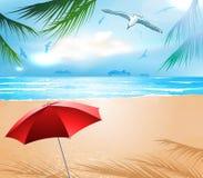 Leeg idyllisch strand vector illustratie