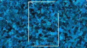 Leeg kader en blauwe bloemachtergrond royalty-vrije stock fotografie