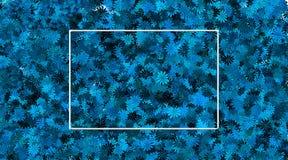 Leeg kader en blauwe bloemachtergrond stock foto's