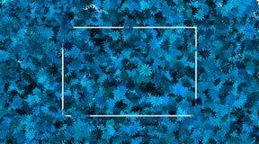 Leeg kader en blauwe bloemachtergrond stock afbeeldingen