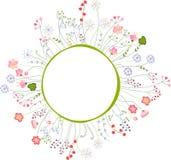 Leeg kader met verschillende bloemen en kruiden Stock Foto