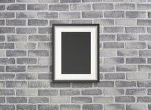 Leeg kader op grijze birckmuur Royalty-vrije Stock Afbeelding