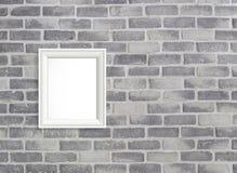 Leeg kader op grijze birckmuur Stock Foto's