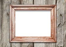 Leeg kader op oude houten oppervlakte Stock Foto
