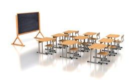 Leeg klaslokaal met houten bureaus stock foto's