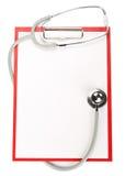 Leeg klembord met stethoscoop Royalty-vrije Stock Afbeeldingen