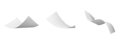 Leeg kruldocument dat in wind vliegt royalty-vrije illustratie