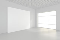Leeg leeg aanplakbord in wit binnenland het 3d teruggeven Stock Fotografie