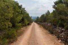 Leeg macadam en de stoffig wildernis van de wegtrog en bos van Kroatisch eiland Brac De aard van de wegtrog met groen bos en blau stock afbeeldingen