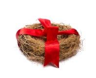 Leeg nest met rood lint. Royalty-vrije Stock Afbeeldingen