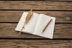 Leeg notitieboekje en houten potlood op houten backgro Stock Fotografie