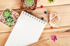 Leeg notitieboekje voor uw tekst met cactus stock foto's