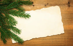 Leeg Oud Document met Kerstboom Royalty-vrije Stock Fotografie