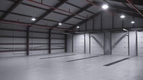 Leeg pakhuis met concrete vloer het 3d teruggeven Royalty-vrije Stock Foto's