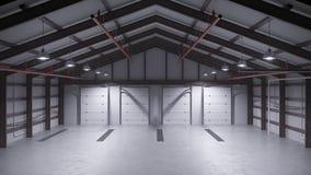 Leeg pakhuis met concrete vloer het 3d teruggeven Stock Fotografie