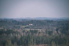 leeg plattelandslandschap in de herfst met gebieden en weiden en zeldzame bomen op achtergrond - uitstekende retro ziet eruit stock afbeelding