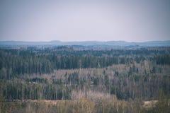 leeg plattelandslandschap in de herfst met gebieden en weiden en zeldzame bomen op achtergrond - uitstekende retro ziet eruit royalty-vrije stock afbeelding
