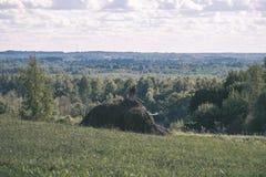 leeg plattelandslandschap in de herfst met gebieden en weiden en zeldzame bomen op achtergrond - uitstekende retro ziet eruit stock foto