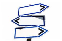 Leeg richtingsteken met drie richtingen stock afbeeldingen