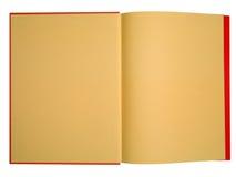 Leeg rood boek met sinaasappel pag stock afbeeldingen