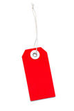 Rood die Etiket met Koord - op Wit wordt geïsoleerdd royalty-vrije stock afbeelding