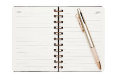 Leeg spiraalvormig notitieboekje met ballpoint Royalty-vrije Stock Fotografie