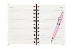 Leeg spiraalvormig notitieboekje met ballpoint Royalty-vrije Stock Foto