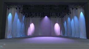Leeg stadium met lichten Stock Afbeelding