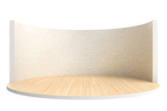 Leeg stadium of ronde ruimte met houten vloer en witte bakstenen muur royalty-vrije stock afbeeldingen