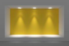 Leeg storefront of podium met verlichting en een groot venster vector illustratie