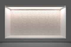 Leeg storefront of podium met verlichting en een groot venster stock illustratie