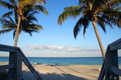 Leeg strand in Miami Royalty-vrije Stock Afbeeldingen
