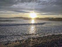 Leeg strand in Cambrils Spanje stock foto's