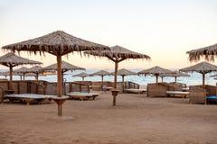 Leeg strand in Egypte Stock Afbeeldingen