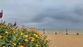 Leeg Strand op bewolkte dag op zee Royalty-vrije Stock Foto