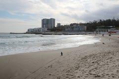 Leeg strand van de Zwarte Zee in bewolkt de herfstweer Landschap met stormachtige overzeese golvenonderbreking over het lege wild Stock Afbeelding