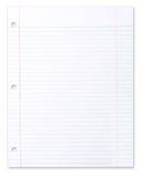 Leeg Stuk van School Gevoerd Document op Wit Royalty-vrije Stock Fotografie