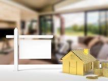 Leeg teken met huisachtergrond Royalty-vrije Stock Afbeelding