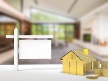 Leeg teken met huisachtergrond Stock Fotografie