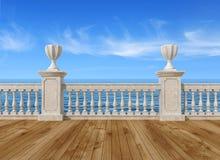 Leeg terras met balustrade vector illustratie