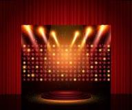 Leeg theaterstadium met gordijn De achtergrond voor toont, presentat royalty-vrije illustratie