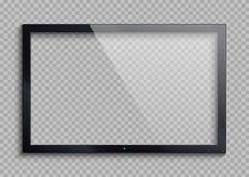 Leeg TV-kader met bezinning en transparantie geïsoleerde het scherm Lcd monitor vectorillustratie stock illustratie