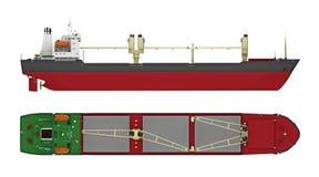 Leeg vrachtschip met kranen vector illustratie