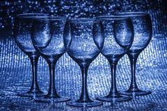 Leeg wijnglas vijf Stock Foto