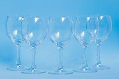 Leeg wijnglas vijf Royalty-vrije Stock Foto's